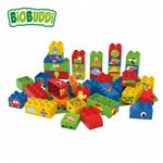 BiOBUDDi - Educational blocks with baseplate (Red) - Eco Friendly Block Set - 40 Blocks